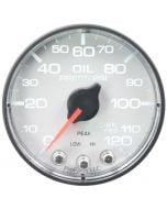"""2-1/16"""" OIL PRESSURE, 0-120 PSI, STEPPER MOTOR, SPEK-PRO, WHITE DIAL, BLACK BEZEL, FLAT ANTIGLARE LENS"""