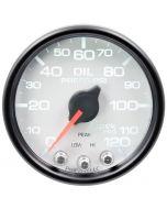 """2-1/16"""" OIL PRESSURE, 0-120 PSI, STEPPER MOTOR, SPEK-PRO, WHITE DIAL, BLACK BEZEL, CLEAR LENS"""