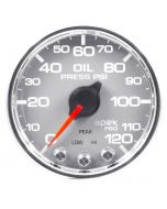 "2-1/16"" OIL PRESSURE, 0-120 PSI, STEPPER MOTOR, SPEK-PRO, SILVER DIAL, CHROME BEZEL, CLEAR LENS"