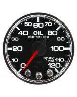 "2-1/16"" OIL PRESSURE, 0-120 PSI, STEPPER MOTOR, SPEK-PRO, BLACK DIAL, CHROME BEZEL, CLEAR LENS"