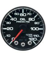"""2-1/16"""" OIL PRESSURE, 0-120 PSI, STEPPER MOTOR, SPEK-PRO, BLACK DIAL, BLACK BEZEL, FLAT ANTIGLARE LENS"""