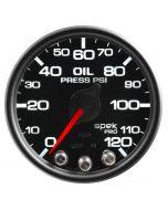 """2-1/16"""" OIL PRESSURE, 0-120 PSI, STEPPER MOTOR, SPEK-PRO, BLACK DIAL, BLACK BEZEL, CLEAR LENS"""