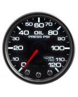 """2-1/16"""" OIL PRESSURE, 0-120 PSI, STEPPER MOTOR, SPEK-PRO, BLACK DIAL, BLACK BEZEL, SMOKED LENS"""