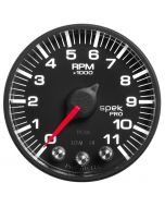 "2-1/16"" IN-DASH TACHOMETER, 0-11,000 RPM, SPEK-PRO, BLACK DIAL, BLACK BEZEL, FLAT ANTIGLARE LENS"