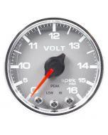 """2-1/16"""" VOLTMETER, 0-16V, DIGITAL STEPPER MOTOR, SPEK-PRO, SILVER DIAL, CHROME BEZEL, CLEAR LENS"""