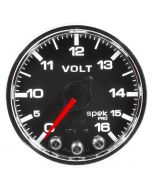 "2-1/16"" VOLTMETER, 0-16V, DIGITAL STEPPER MOTOR, SPEK-PRO, BLACK DIAL, CHROME BEZEL, CLEAR LENS"
