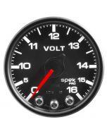 "2-1/16"" VOLTMETER, 0-16V, DIGITAL STEPPER MOTOR, SPEK-PRO, BLACK DIAL, BLACK BEZEL, CLEAR LENS"