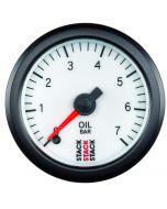 OIL PRESS, PRO STEPPER MOTOR, 52MM, WHT, 0-7 BAR, STEPPER MOTOR, M10 MALE