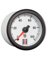 """OIL PRESS, PRO STEPPER MOTOR, 52MM, WHT, 0-100 PSI, STEPPER MOTOR, 1/8"""" NPTF MALE"""