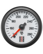 """OIL TEMP, PRO STEPPER MOTOR, 52MM, WHT, 140-280 °F, STEPPER MOTOR, 1/8"""" NPTF MALE"""