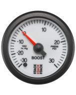 52MM, BOOST PRESS, PRO STEPPER MOTOR,  -30INHG TO +30PSI, STACK WHT