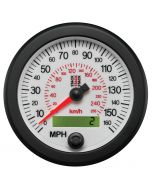 88MM SPEEDOMETER, 0-160 MPH / 260 KM/H, STACK WHT