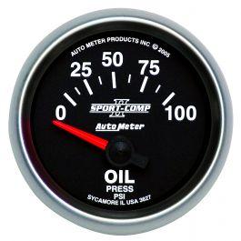 AU3652 Auto Meter Sport-Comp II 2-1//16 Oil Pressure Gauge w// Peak 0-100PSI