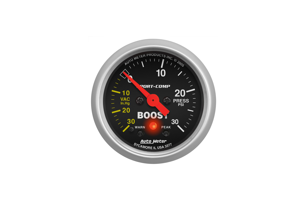 An autometer boost gauge