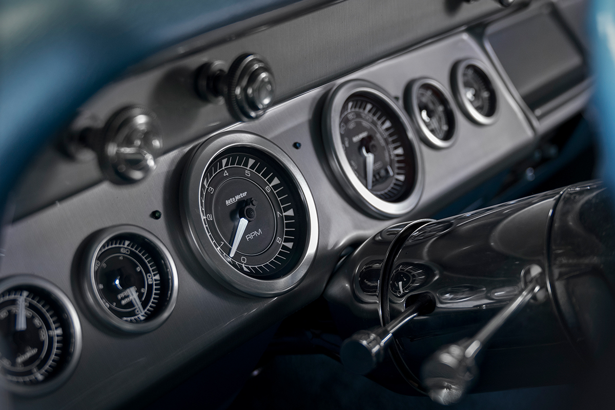 Autometer dials on the dash of a car
