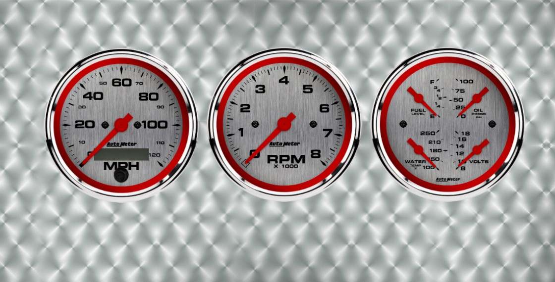 Custom red and steel gauges