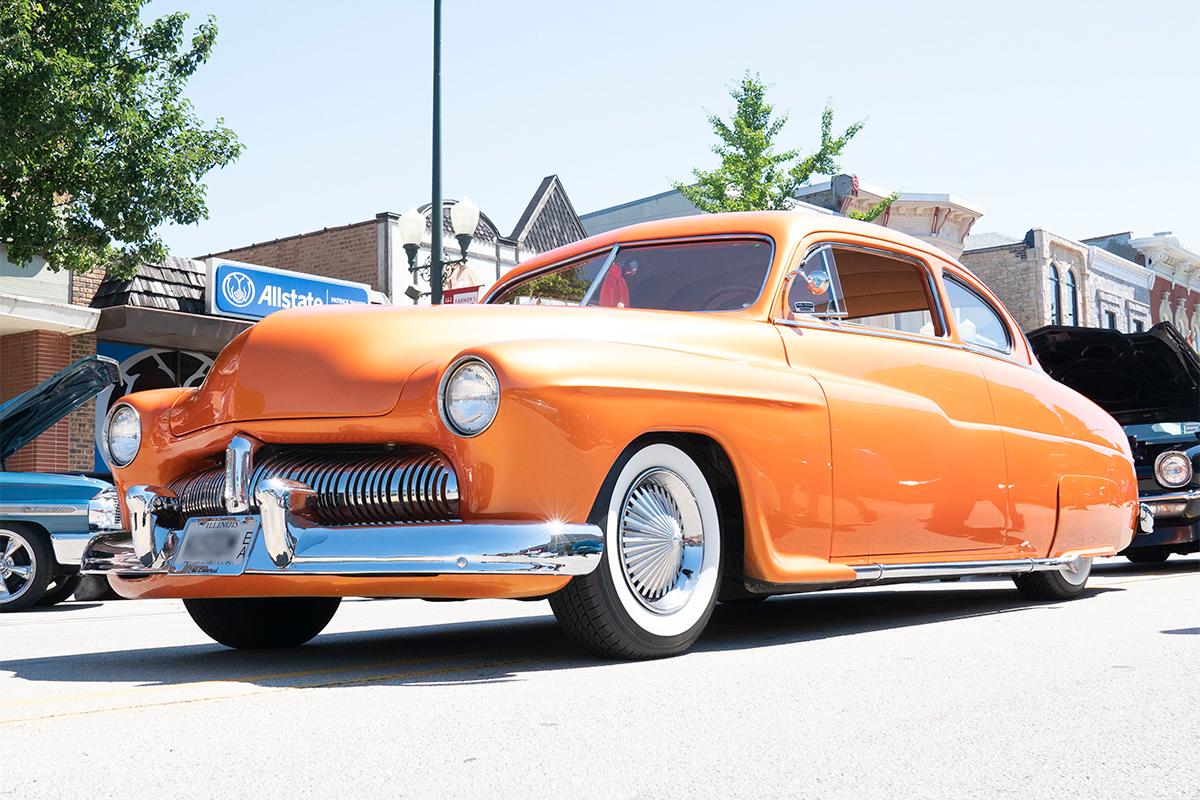 A classic orange automobile