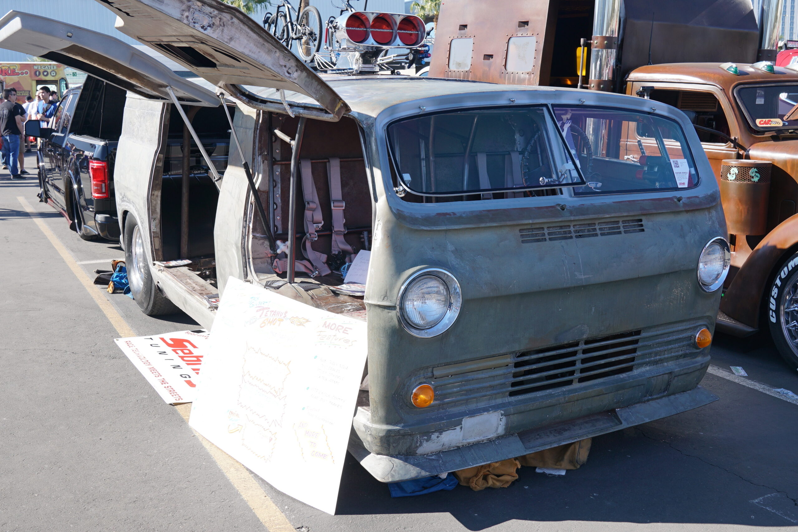 Front view of JACK GILBERT JR.'S CHEVY VAN at auto show